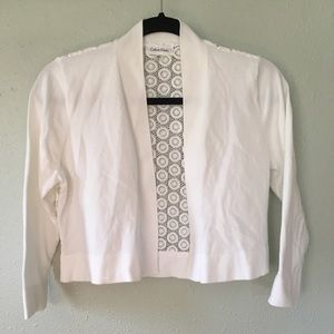 Calvin Klein White Crop Cardigan Sweater